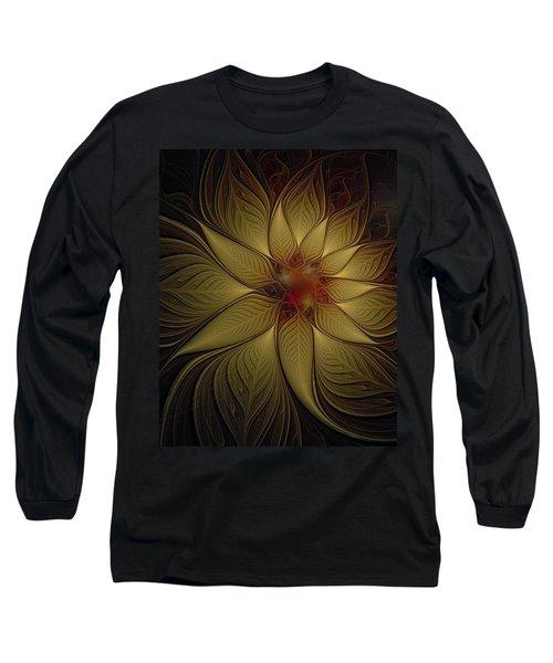 Poinsettia In Gold Long Sleeve T-Shirt
