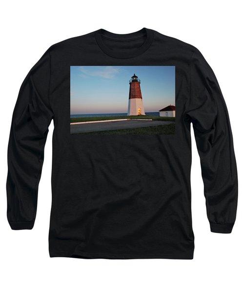 Long Sleeve T-Shirt featuring the photograph Point Judith Lighthouse Rhode Island by Nancy De Flon