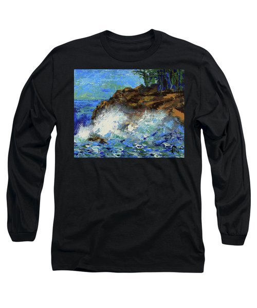 Long Sleeve T-Shirt featuring the painting Point Lobos Crashing Waves by Walter Fahmy