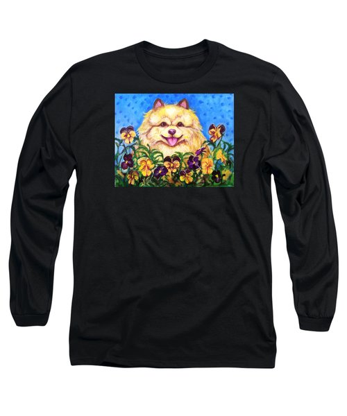 Long Sleeve T-Shirt featuring the painting Pomeranian With Pansies by Laura Aceto