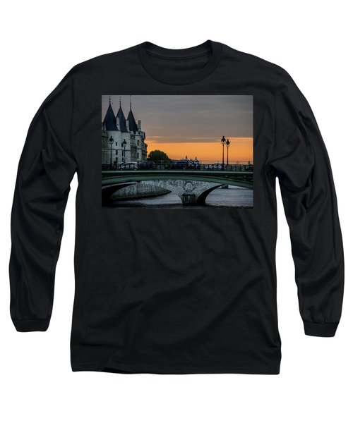 Long Sleeve T-Shirt featuring the photograph Pont Au Change Paris Sunset by Sally Ross