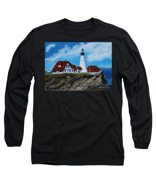 Portland Head Light In Maine Viewed From The South Long Sleeve T-Shirt