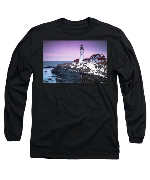 Maine Portland Headlight Lighthouse In Winter Snow Long Sleeve T-Shirt by Ranjay Mitra