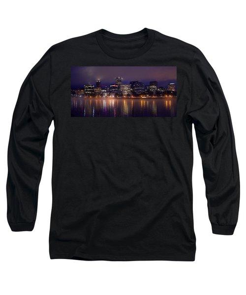 Portland Night Skyline Long Sleeve T-Shirt by Joseph Skompski