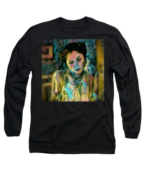 Long Sleeve T-Shirt featuring the painting Portrait Colorful Female Wistfully Thoughtful Pastel by MendyZ