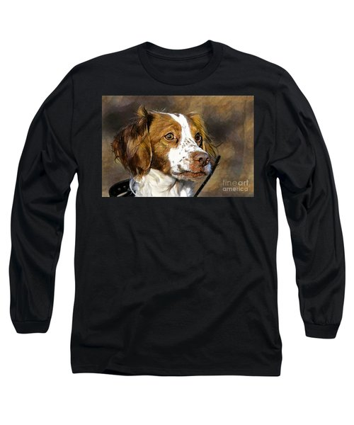 Long Sleeve T-Shirt featuring the photograph Portrait Of A Brittany - D009983-a by Daniel Dempster