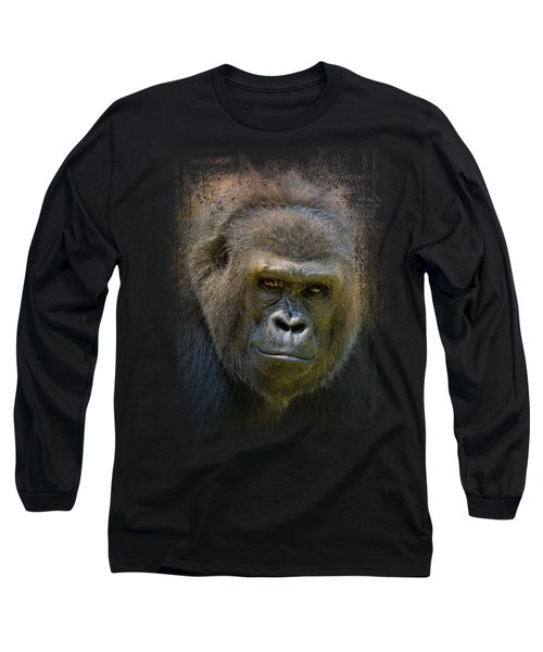 Portrait Of A Gorilla Long Sleeve T-Shirt by Jai Johnson
