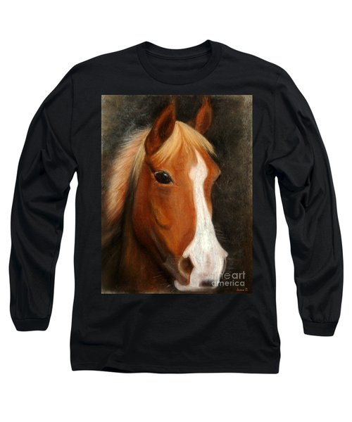 Portrait Of A Horse Long Sleeve T-Shirt by Jasna Dragun