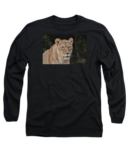 Portrait Of A Lioness II Long Sleeve T-Shirt by Jim Fitzpatrick