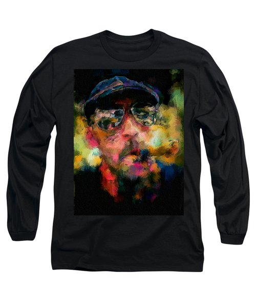 Portrait Of A Man In Sunglass Smoking A Cigar In The Sunshine Wearing A Hat And Riding A Motorcycle In Pink Green Yellow Black Blue Oil Paint With Raking Light To Pick Up Paint Texture Long Sleeve T-Shirt