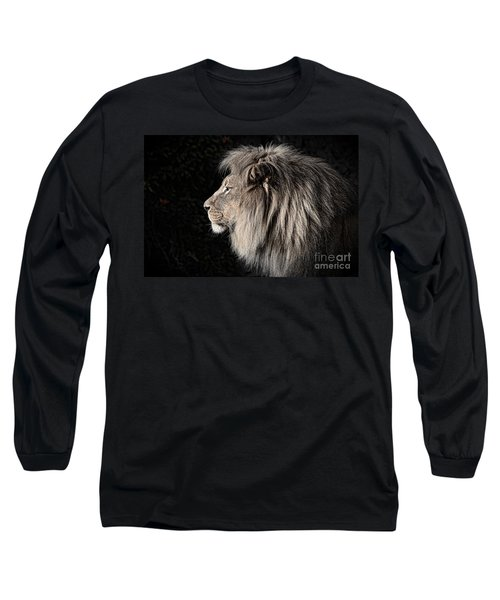 Portrait Of The King Of The Jungle II Long Sleeve T-Shirt by Jim Fitzpatrick
