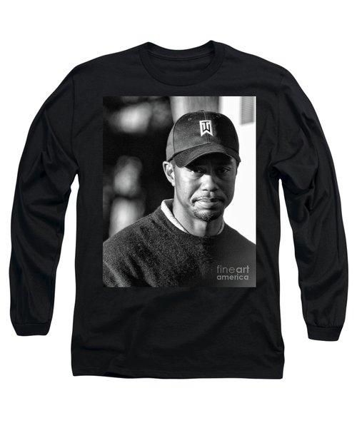 Portrait  Tiger Woods Black White  Long Sleeve T-Shirt