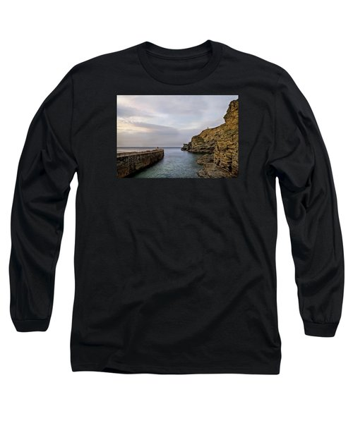 Long Sleeve T-Shirt featuring the photograph Portreath Harbour, Cornwall Uk by Shirley Mitchell