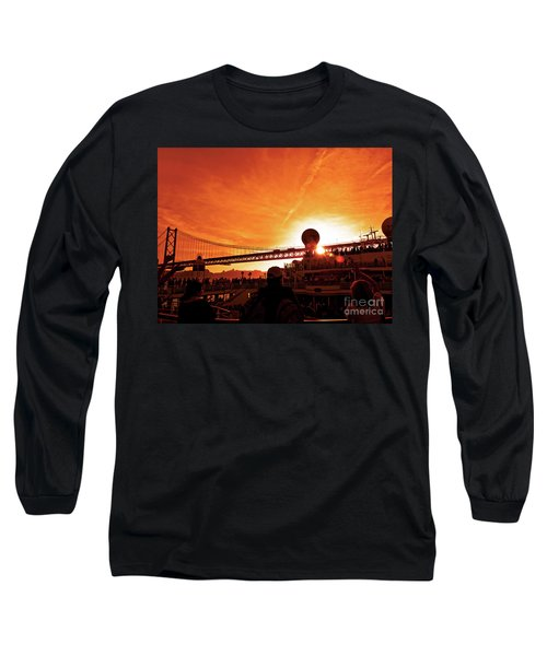 Sunset Under The 25 April Bridge Lisbon Long Sleeve T-Shirt