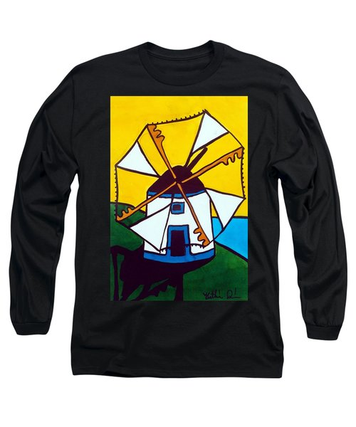 Portuguese Singing Windmill By Dora Hathazi Mendes Long Sleeve T-Shirt by Dora Hathazi Mendes