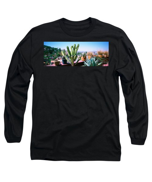 Potted Plants On Terrace Of A Building Long Sleeve T-Shirt