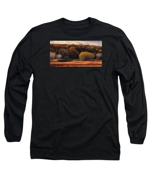 Prairie Autumn Stream Long Sleeve T-Shirt by Bruce Morrison
