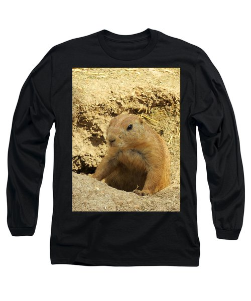 Prairie Dog Peek Long Sleeve T-Shirt by Robin Regan