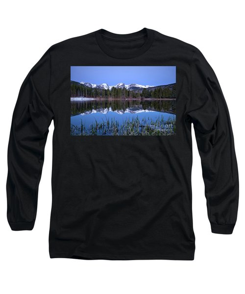 Pre Dawn Image Of The Continental Divide And A Sprague Lake Refl Long Sleeve T-Shirt