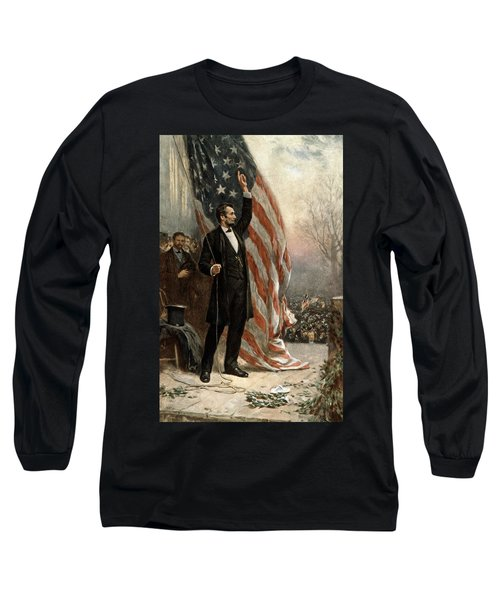 Long Sleeve T-Shirt featuring the photograph President Abraham Lincoln - American Flag by International  Images