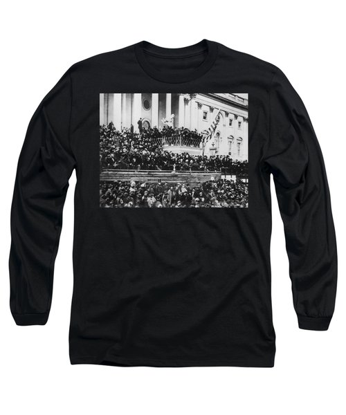 Long Sleeve T-Shirt featuring the photograph President Lincoln Gives His Second Inaugural Address - March 4 1865 by International  Images