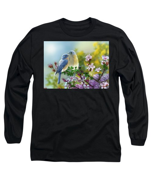 Pretty Blue Birds Long Sleeve T-Shirt