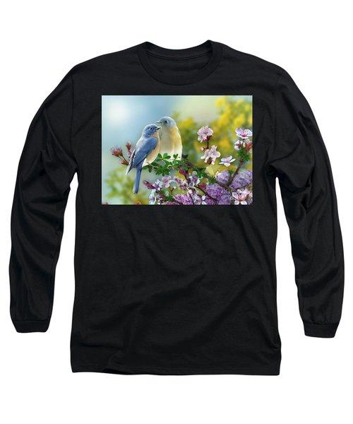 Pretty Blue Birds Long Sleeve T-Shirt