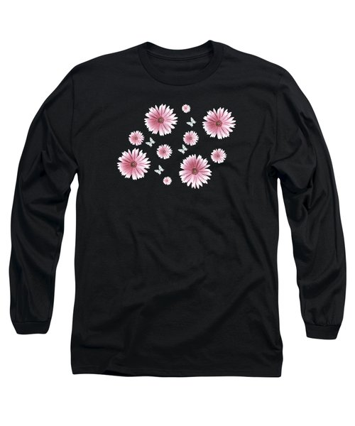 Pretty Pink Flowers On Black Long Sleeve T-Shirt