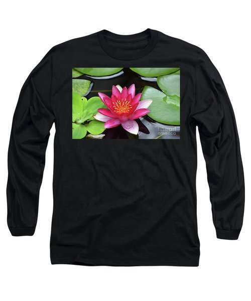 Pretty Red Water Lily Flowering In A Water Garden Long Sleeve T-Shirt