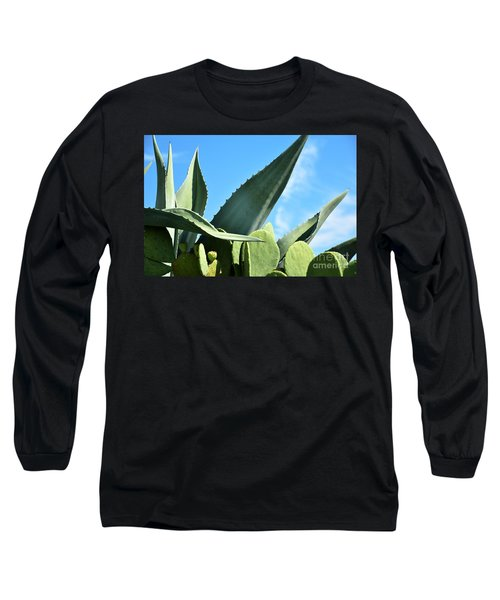 Long Sleeve T-Shirt featuring the photograph Prickly Pear Cactus And Century Plant by Ray Shrewsberry