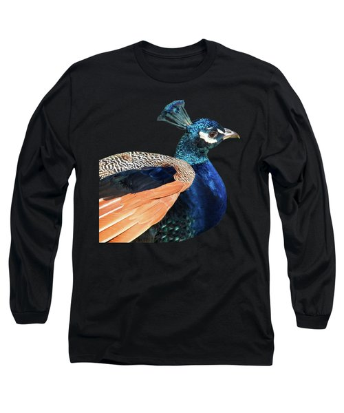 Proud Peacock Square Long Sleeve T-Shirt by Gill Billington