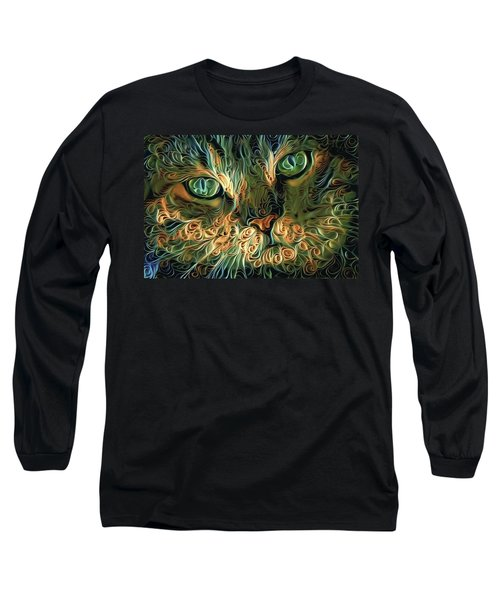 Psychedelic Tabby Cat Art Long Sleeve T-Shirt