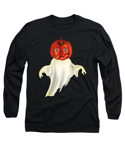 Pumpkin Headed Ghost Graphic Long Sleeve T-Shirt by MM Anderson