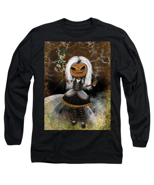Pumpkin Spice Latte Monster Fantasy Art Long Sleeve T-Shirt