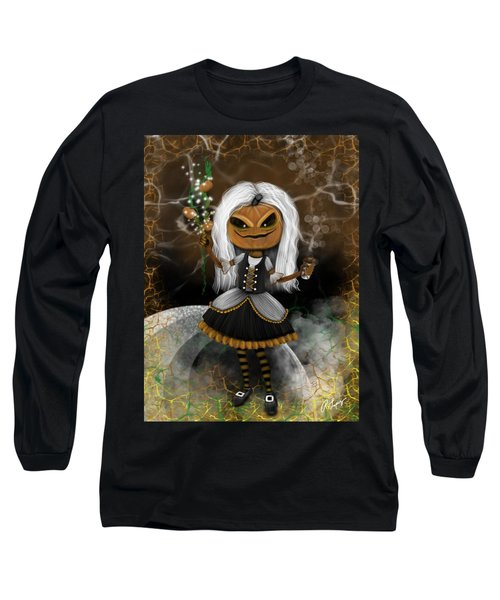 Long Sleeve T-Shirt featuring the painting Pumpkin Spice Latte Monster Fantasy Art by Raphael Lopez
