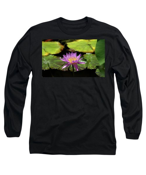 Purple And Yellow Water Lily Long Sleeve T-Shirt