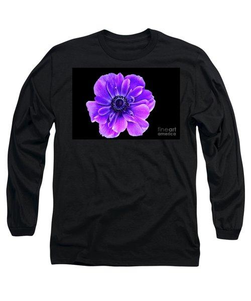 Purple Anemone Flower Long Sleeve T-Shirt by Mariola Bitner