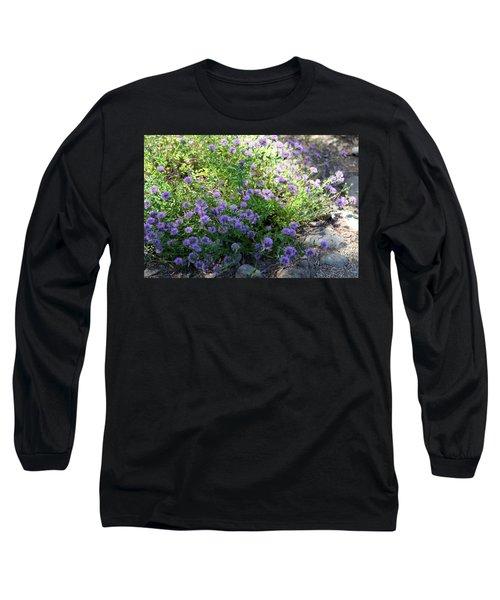 Purple Bachelor Button Flower Long Sleeve T-Shirt