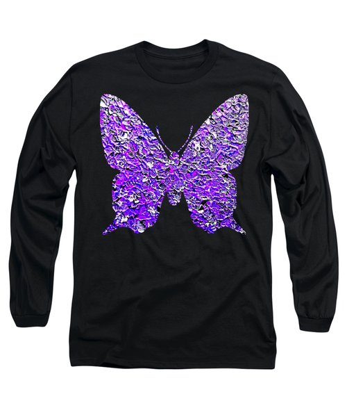 Long Sleeve T-Shirt featuring the painting Purple Butterfly  by Rachel Hannah