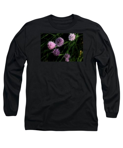 Purple Chives Long Sleeve T-Shirt by Angela Rath