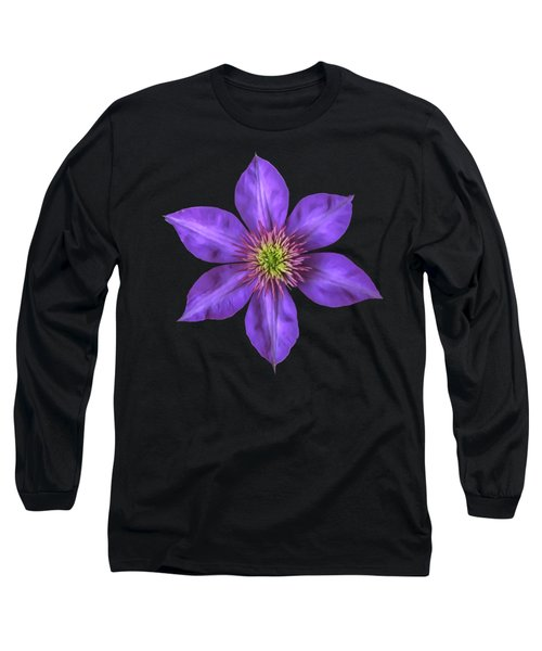 Purple Clematis Flower With Soft Look Effect Long Sleeve T-Shirt