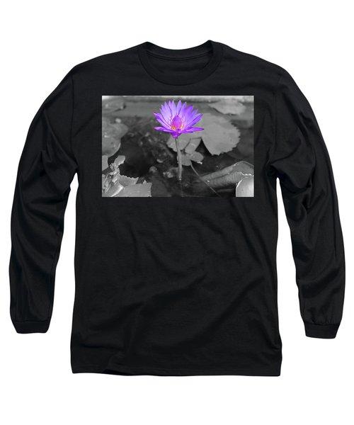 Purple Enlightened Lotus Long Sleeve T-Shirt