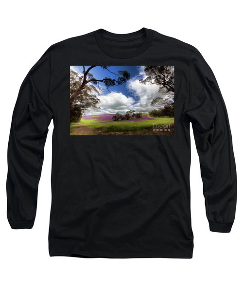Purple Fields Long Sleeve T-Shirt by Douglas Barnard