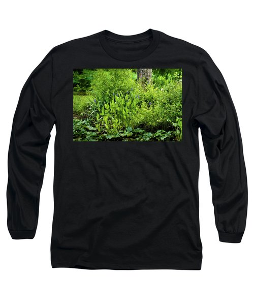 Purple Flowers By The Ponds Edge Long Sleeve T-Shirt