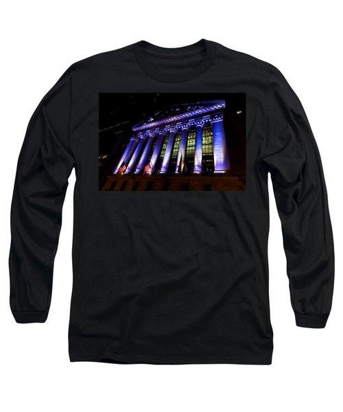 Purple New York Stock Exchange At Night - Impressions Of Manhattan Long Sleeve T-Shirt