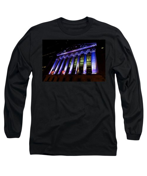 Purple New York Stock Exchange At Night - Impressions Of Manhattan Long Sleeve T-Shirt