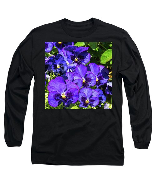 Purple Pansies In Morning Light Long Sleeve T-Shirt