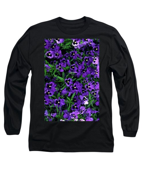 Long Sleeve T-Shirt featuring the photograph Purple Viola Flowers by Sally Weigand
