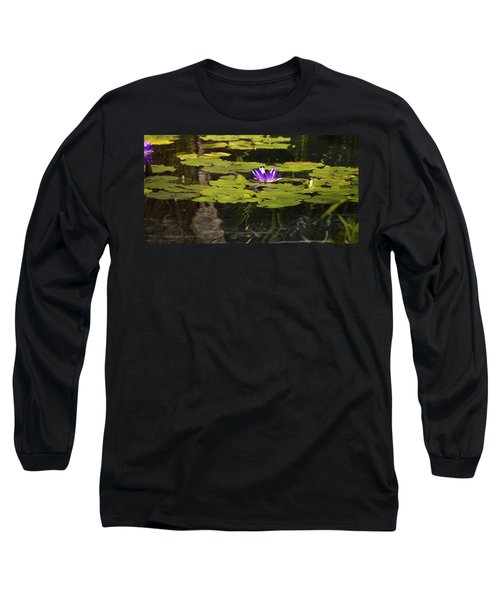 Purple Water Lilly Distortion Long Sleeve T-Shirt