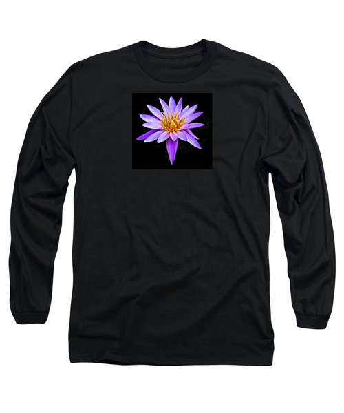 Purple Waterlily With Golden Heart Long Sleeve T-Shirt by Venetia Featherstone-Witty